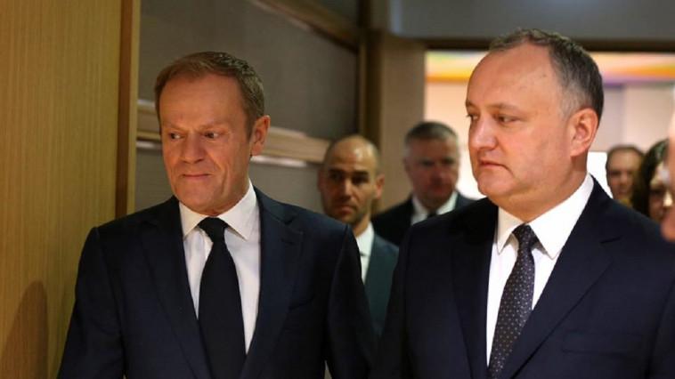 Додон после встречи с Туском: Я продолжаю выступать за отмену соглашения с ЕС